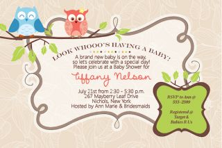 Owl Boy Girl Baby Shower Anniversary Birthday Invitations