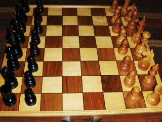 Antique Vintage Philippines Hand Carved Chess Set