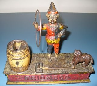 VINTAGE 1888 ANTIQUE ORIGINAL CAST IRON MECHANICAL COIN BANK TRICK DOG
