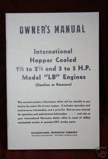 IHC LB 1 1/2 & 3 5HP Engine Manual & Book hit & miss