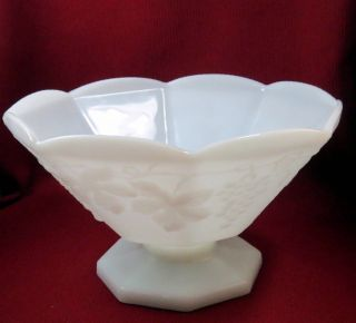 vintage opaque white milk glass pedestal fruit bowl