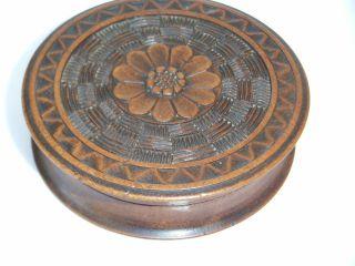 Antique carved Wood Treen Snuff Box Flower Detail Trinket Box