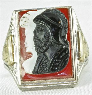 Antique Hard Stone Cameo Mens Ring 10K White Gold