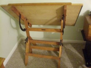 Antique Hamilton Drafting Table with Swivel Wood Chair