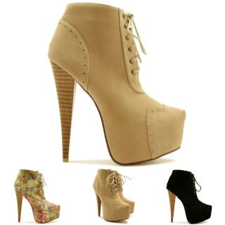 Heel Brogue Lace Up Concealed Platform Ankle Boots Size