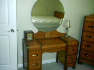 Antique Art Deco Waterfall Furniture 5 pc Bedroom Set Full Bed vanity