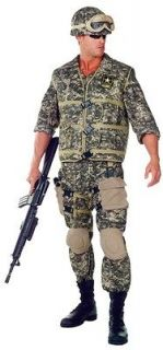 MENS US ARMY RANGER CAMO UNIFORM DELUXE COSTUME NEW UR29395