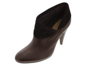 Coach NEW Annika Brown Leather Fold Over Ankle Boots Booties Heels