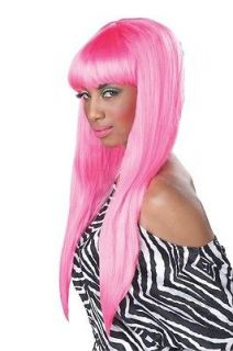 70047 BUBBLE GUM NICKI MINAJ PINK LONG STRAIGHT BANGS WIG HALLOWEEN