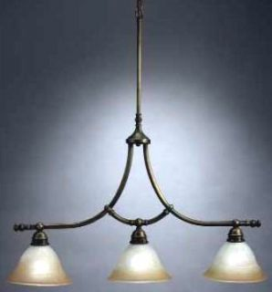 Antique Brass 3 Light Chandelier NIB Orig $300 00