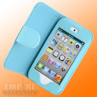 Teal Leather Folding Case for Apple iPod Touch iTouch 4G 4th Gen New