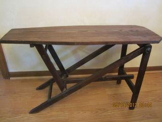 Antique Vintage Wood Primitive Childs Ironing Board Plant Table