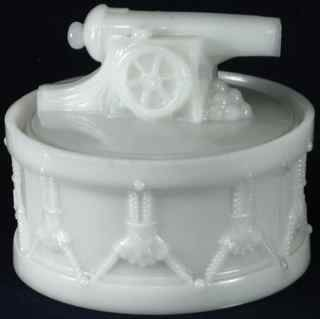 Antique WESTMORELAND Milk Glass Civil War Cannon on Cadence Drum