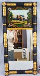 Antique 19c Black Gold Federal Reverse Painted Mirror