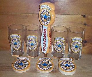 NEWCASTLE BROWN ALE BEER TAP HANDLE KEG MARKER 4 BEER PUB GLASSES AND