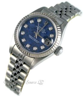 Ladies Rolex Datejust Sodalite Diamond Dial Watch 79174