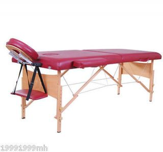 Foldable Massage Table Portable Bed PU Adjustable Leg 2 Section 2.5in