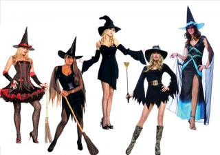 Sexy Halloween Witch Fancy Dress Costumes Witches Hats Black Magic