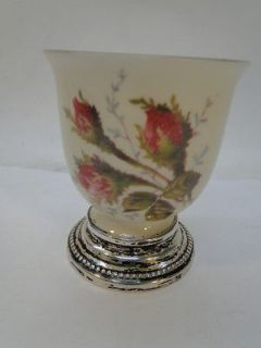 VINTAGE ROSENTHAL CHINA SELB GERMANY MOSS ROSE EGG CUP STERLING SILVER
