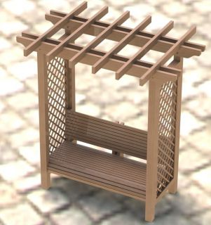 Garden Arbor Trellis with Bench Woodworking Plans Easy to Build