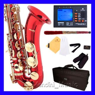 new student red lacquer tenor saxophone sax+ $ 39 tuner