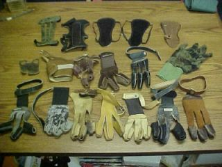 Lot 18 Archery Bow 3 Finger Gloves Tab Arm Guard Bear Ben Pearson