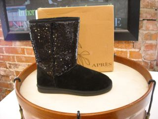 LAMO Apres Black Suede Sequins Faux Fur Boots New
