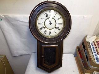 antique Nagoya Japan Regulator A School House Key Wind Wall Clock 22