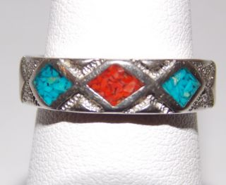 Carolyn Pollack Sincerely Southwest Sterling Ring 7 Turquoise Coral