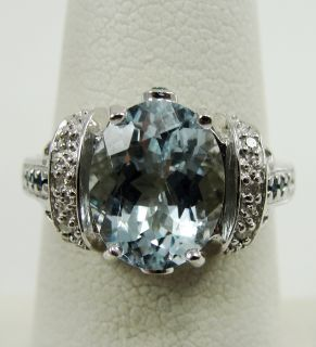 10K White Gold Aquamarine Ring Solitaire Blue Diamond Clear Accent