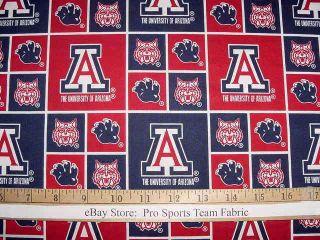 University of Arizona Wildcats 100 Cotton Fabric NCAA College Sports