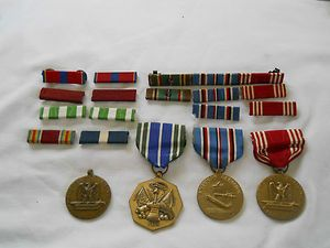 Lot of Vintage U s Military WW2 WWII Medals Ribbons