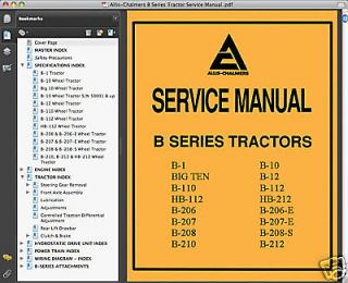 Allis Chalmers B Series Tractors SERVICE Repair MANUAL B1 B10 B12 B110