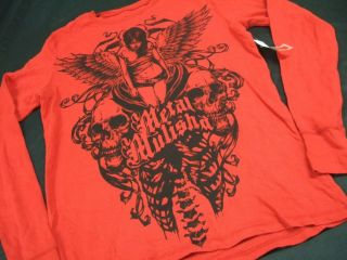 RED METAL MULISHA SKULLS DARK ANGEL WINGS SPINE THERMAL SHIRT SWEATER