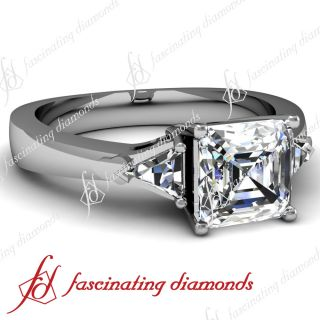 Trio Trillion Asscher Cut Diamond 1 Ct Engagement Ring 14k White Gold