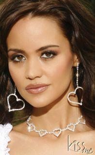 Sexy Jewelry Rhinestone Heart Bridal Wedding Necklace