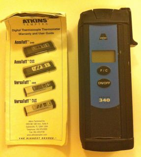 Atkins AccuTuff 340 Thermometer with User Guide Great Condition