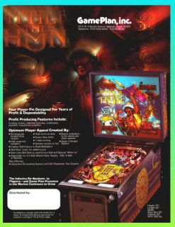 Attila The Hun 1984 Game Plan Pinball Advertising Flyer