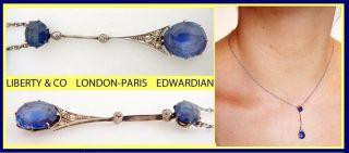 Antique Edwardian Liberty Co White Gold Sapphire Diamond Necklace 4979