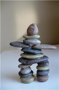 NEW TWO 5 IN. INUKSHUKS GARDEN FIGURINES set 2 STONES DIRECTION SAFE