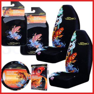 Ed Hardy Koi Car Seat Covers Auto Accessories Set