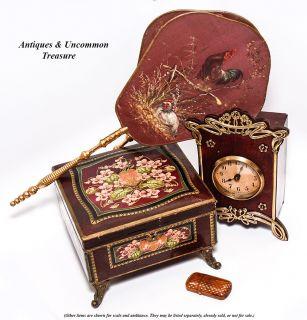 Antique French Art Nouveau Desk or Mantel Clock, Wood & Polished Brass