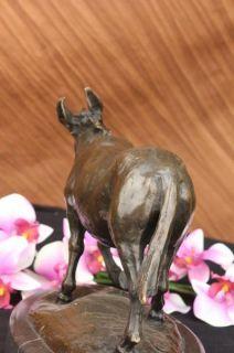Signed Antoine Barye Donkey Horse Family Bronze Marble Sculpture Art