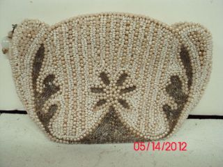 Vintage ART DECO Change Coin Purse White Pearl Seed Bead Tube w HAND
