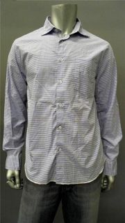 Arnold Zimberg Mens M Casual Long Sleeve Button Down Shirt Blue White