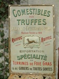 Antique French Paris Enamelled Metal Shop Advertising Sign Foie Gras