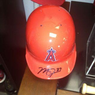 mike trout autographed mini helmet  185 00