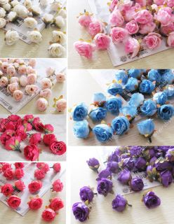 24x Pink Silk Flower Rose Head Fake Artificial Wedding Home Decor Hair