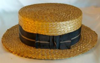 Antique Vtg Straw Mens Boater Hat Italian Artis et Faciendo Summer