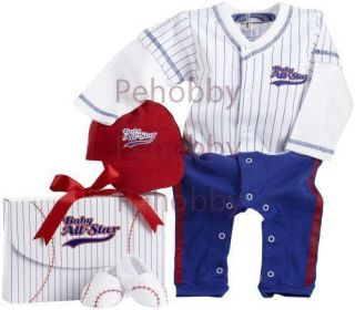 Baby Aspen Big Dreamzzz Baby Baseball Layette Set with Gift Box Blue 0